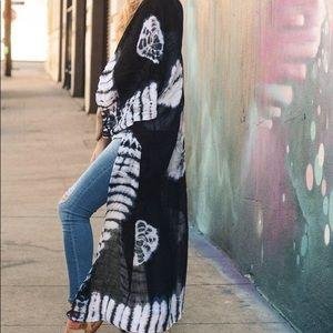 Jackets & Blazers - Black Tie Dye Kimono